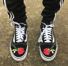 Vintage rose embroidered Vans