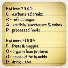 Less CRAP, more FOOD!
