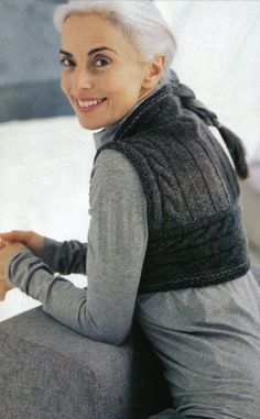 Ribwarmer pattern by Shiri Mor/ I am complimented almost daily by my long grey hair. Crochet Woman, Knit Crochet, Yasmina Rossi, Winter Typ, Long Gray Hair, Vogue Knitting, Ageless Beauty, Going Gray, Aging Gracefully