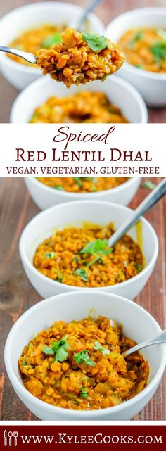 Rich and hearty, this Red Lentil Dhal is great as a main dish! Warming delicious, and excellent to make ahead, or for a quick weeknight dinner! #vegetarian #vegan #glutenfree #indian via @kyleecooks
