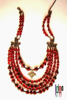 Намисто з пташками і гуцульським хрестиком modern version of a Ukrainian namysto (traditional style necklace of metal and coral or glass imitating coral or red amber) with a modern stylized zgarda crosus-amulet