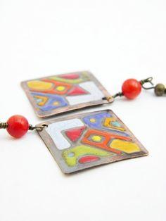 Hundertwasser  pair of enamel earrings  colorful by Doorsignforyou, $45.00