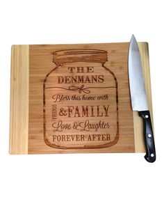 Jam Jar 'bless This Home With' Personalized Cutting Board