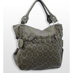 Handbags, Bling & More! Dark Green Fashion Purse with Flower Accents : Fashion Purses