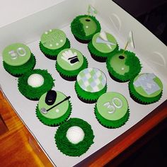 Golf themed 30th birthday cupcakes with clubs, gloves, holes and bunkers!