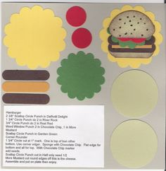 Burger punch art- this would be great for a BBQ invite! Paper Punch Art, Punch Art Cards, Pop Up Box Cards, Scrapbook Cards, Scrapbooking, Craft Punches, Card Making Tutorials, Paper Cards, Kids Cards