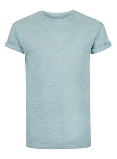 Teal Slub Textured Muscle Fit Roller T-Shirt