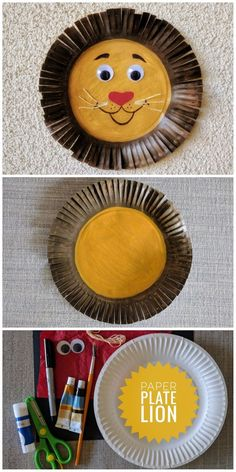 Paper Plate Lion Craft For Kids. Inspired by noble but pompous character – Leodo… Paper Plate Lion Craft For Kids. Inspired by noble but pompous character – Leodore Lionheart – the mayor of Zootopia! Paper Plate Crafts For Kids, Animal Crafts For Kids, Paper Crafting, Art For Kids, Diy Paper, Paper Plate Art, Kid Art, Lion Kids Crafts, Art Projects For Toddlers