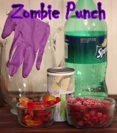 Zombie PUNCH!   A Nurtured Life Zombie Food, Zombie Themed Food, Zombie Drink, Zombie Cocktail, Halloween Birthday, Halloween Diy, 8th Birthday, Zombie Birthday Parties, Halloween Punch