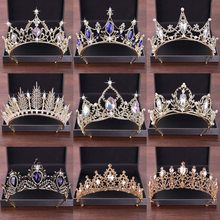 New Wedding Hair Accessories Crystal Tiara For Brides Crown Gold Head Piece Bridal Hair Accessories Crystal Crowns Queen Diadem Quinceanera Tiaras, Mode Poster, Crystal Crown, Crystal Rhinestone, Gold Headpiece, Bridal Crown, Crown Hairstyles, Fantasy Jewelry, Tiaras And Crowns