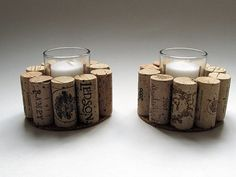 Wine Cork Votive Candle Holder Set of Two by LizzieJoeDesigns