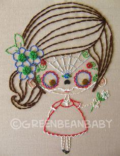 The Sugar Skull Masked Kids Cutesie Digital by greenbeanbaby