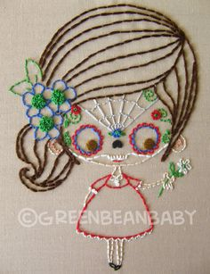 "The Sugar Skull Masked Kids Cutesie Digital Embroidery Patterns. $2.99, via Etsy.  ""The cute & irregular art of Ellia Ana Hill"" ~ awesome stuff!"