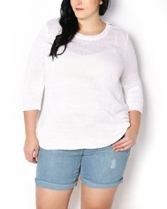 Layer your casual outfits in cozy style thanks to this lightweight plus-size sweater boasting subtle anchor print. Made with a soft knit fabric, it features 3/4 sleeves, ribbed detailing at hem and rounded neckline with zipper detail, as well as a high-low hem. Pairs perfectly with a jean short and a t-shirt for a sunny vacation look!