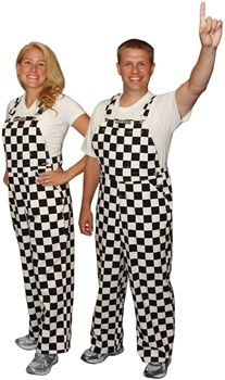 "Our black and white checkered overalls are the best way to ""Stand Out in the Crowd"" when cheering on all your favorite race car drivers and racing teams."