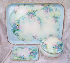 "Gorgeous Vintage 1914 Bavaria Hand Painted ""Forget Me Not"" 3-Pc Dresser Set by the Artist, ""E. Winame"""