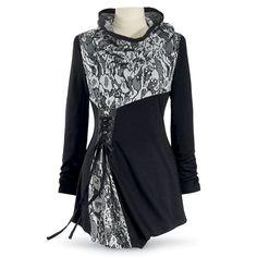 Pyramid Collection - Blythe Tunic Blouse - Black & Grey - Romantic, Goth, Sexy, Gothic, Dark