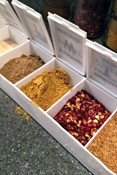 Re-label the tops of cheap medicine containers to make a $5 packable spice rack.