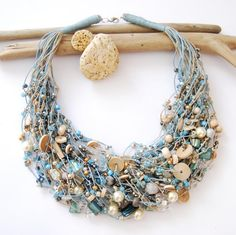 MERMAID in the fog linen necklace by blueinblue on Etsy, $50.00 many strands mostly w/out beads. pearls, wooden disks and some glass