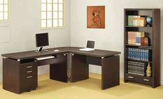 Coaster Home Furnishings 800892 Contemporary Desk, Cappuccino. Coaster Home Furnishings 800892 Contemporary Desk. L Shaped Office Desk, L Shaped Corner Desk, Corner Table, Corner Office, Home Office Desks, Home Office Furniture, Furniture Stores, Furniture Sets, Office Table