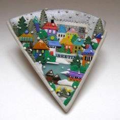 Tory Hughes: Holiday Greetings Brooch Polymer, paper 2011