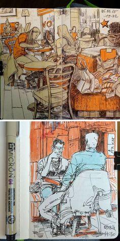 Cafe Sketches by Vorona Nanetta #sketch #watercolor                                                                                                                                                                                 Más