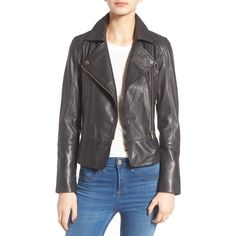 Women's Ted Baker London Minimal Leather Biker Jacket (39,900 INR) ❤ liked on Polyvore featuring outerwear, jackets, black, fitted motorcycle jacket, pocket jacket, leather jackets, leather motorcycle jacket and peplum jacket
