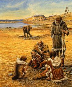 Magdalenian people making flint tools by Patrick Röschli