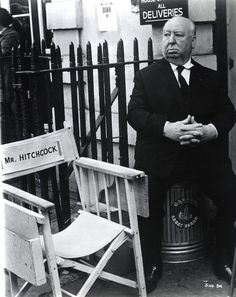 Hitchcock on the set of Frenzy (1972)