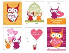 """FREE Owl Themed Valentine Cards: Looking for something for """"owl"""" of the special people in your life? These six adorable owl-themed Valentine cards can be used for students, parents, volunteers, coworkers, friends and family. Simply print off the Valentine Cards on cardstock, cut-apart and write name of recipient."""