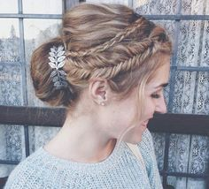 Bun with double crown braids by Abigail Rose