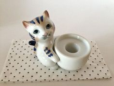 Vintage Ceramic Blue and White Striped Kitty Candle Holder by LemonlyPink on Etsy