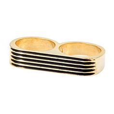 Erica Anenberg Black Striped Twosome Ring ($90) ❤ liked on Polyvore featuring jewelry, rings, accessories, aneis, fashion jewelryrings, 14 karat gold jewelry, 14k ring, black ring, 2 finger ring and erica anenberg ring