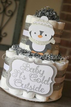 Small 2 Tier Penguin Diaper Cake Baby It's Cold Outside