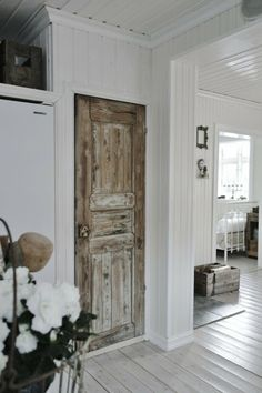 New Takes On Old Doors: Salvaged Doors Repurposed Distressed door-browns barnwood colored. Salvaged Doors, Rustic Doors, Wooden Doors, Wooden Windows, Door Design, Exterior Design, Gate Design, Renovation Parquet, Distressed Doors