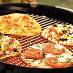 Easy Appetizer Pizzas for the grill -  A variety of ingredients tops flour tortillas for three terrific tastes.