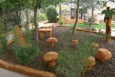 Gathering area,  love the mushroom seating - waiting for some little fairy people.....