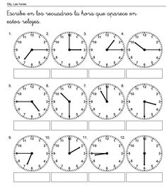 escribe las horas                                                                                                                                                                                 Más Spanish Classroom, Teaching Spanish, Teaching English, Learn English, Math Fractions Worksheets, Kindergarten Math Worksheets, Learning Time, Learning Activities, English Activities