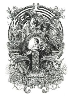 Self-taught illustrator and designer DZO is a French artist that have become known for his intricate monochromatic art that often contains occult, religious and mythological elements. Monochromatic Art, Wow Art, Geek Art, Cultura Pop, Oeuvre D'art, Line Art, Coloring Books, Fantasy Art, Art Drawings