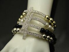 Fashion Zinc Alloy Rhinestone Cross Bracelets For Women