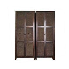 2 x Dark Wood Wardrobes With Rattan Detailing