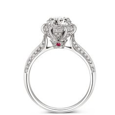 14K 585 White Gold 1CT Lab Grown Diamond Wedding Ring     FREE Shipping Worldwide     http://fashjewels.de/edi-classic-fairy-tales-forever-imperial-crown-14k-585-white-gold-ring-1ct-simulated-diamond-ruby-wedding-ring-for-women-jewelry/