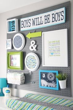 I like the pegboard idea! pegboard organization -- a gallery wall with function that is easy to customize. Baby Boy Rooms, Baby Boy Nurseries, Baby Room, Kids Rooms, Modern Nurseries, Baby Cribs, Pegboard Organization, Nursery Organization, Organization Ideas