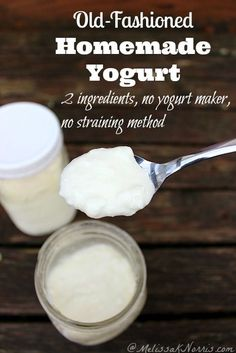 Want an easy and healthy yogurt with more live cultures than the store? This old-fashioned homemade yogurt only uses 2 ingredients, no yogurt maker required, and no straining method for thick creamy yogurt. Best part, it's less than half of the cost of store bought yogurt with more live cultures! Read now and never purchase store bought yogurt again.