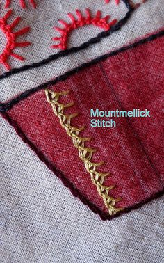 Mountmellick stitch sample and link to video tutorial