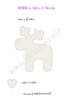 Risultati immagini per cartamodello renna pannolenci