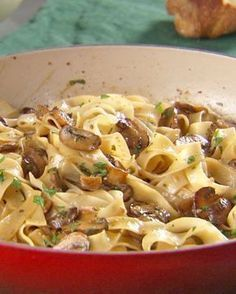 Mushroom Pasta - Martha Stewart Recipes 1 pounds fresh mushrooms 2 tablespoons chopped fresh flat-leaf parsley 3 cloves garlic, minced 1 pound tagliatelle pasta cup heavy cream 3 tablespoons Parmesan cheese, plus more for grating Pasta Recipes, Dinner Recipes, Cooking Recipes, Great Recipes, Favorite Recipes, Yummy Recipes, Recipies, Martha Stewart Recipes, Vegetarian Recipes