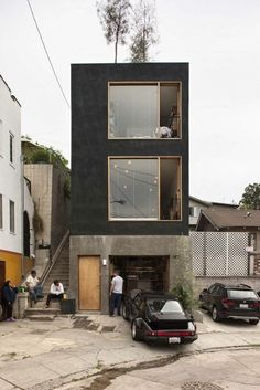 House Small Facade Simple Ideas For 2019 Residential Architecture, Contemporary Architecture, Interior Architecture, Black Architecture, Living Haus, Tiny House Exterior, Building Exterior, Casas Containers, Compact House