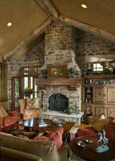 Built out fireplace w/ seating in front