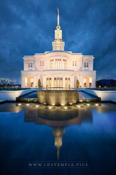 The reflecting pool during twilight at the Payson Utah Temple.